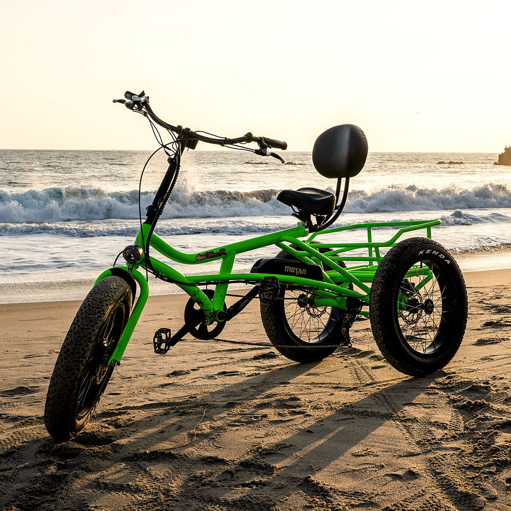 addmotor m-360 recumbent trike at the beach