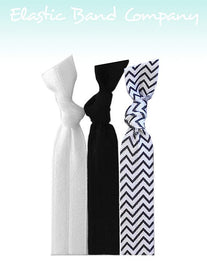 Chevron II B&W Hair Tie 3 Pack - Elastic Band Co.