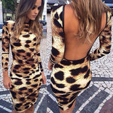 I-Leopard Ishicilelwe Vula I-Mini Back Dress Ukuthengiswa Okusha - Lupsona