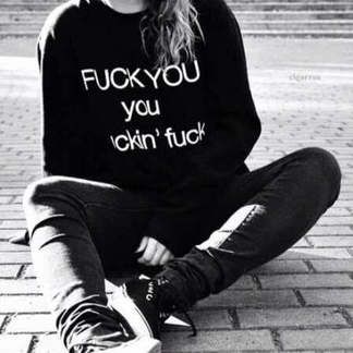 Fuck You Sweatshirt Black Black Oversized Sweatshirt - Lupsona