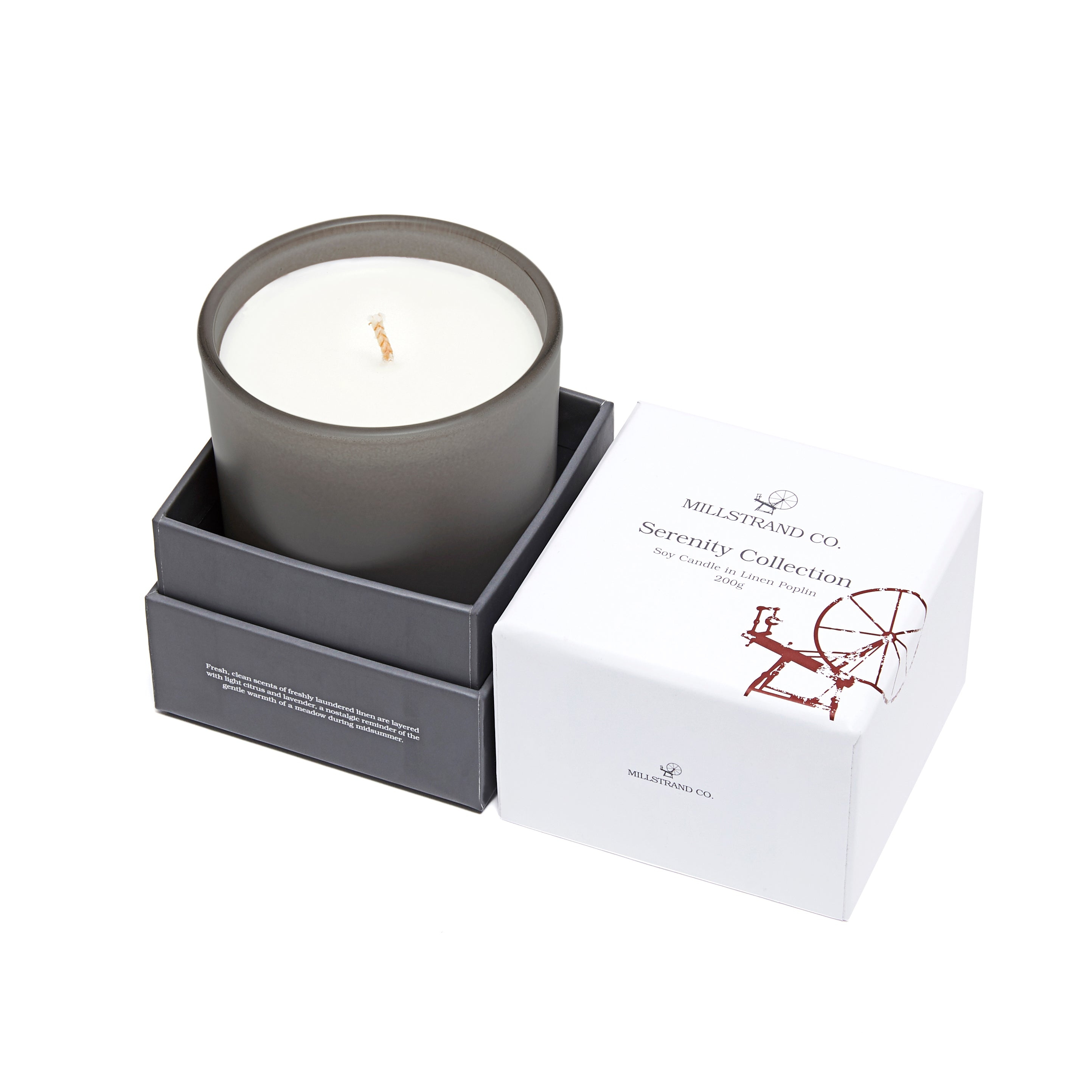 Millstrand Co. Serenity Collection - Soy Candle in Linen Poplin 200g