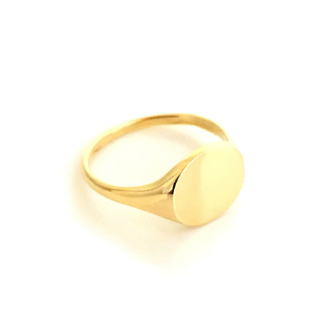 Gold Round Ladies Signet Ring