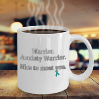 Anxiety Warrior Awareness Mug Teal Ribbon Anxiety Disorder