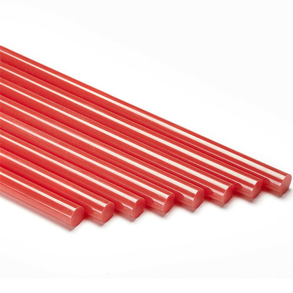 Red colored hot melt glue sticks by Infinity Bond