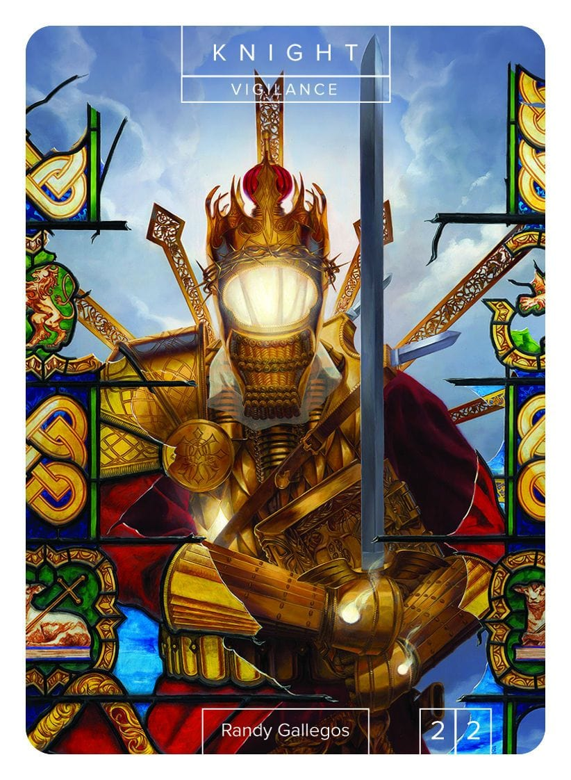 Knight Token (2/2 - Vigilance) by Randy Gallegos - Token - Original Magic Art - Accessories for Magic the Gathering and other card games