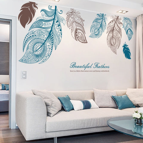 Large Feathers Wall Decals
