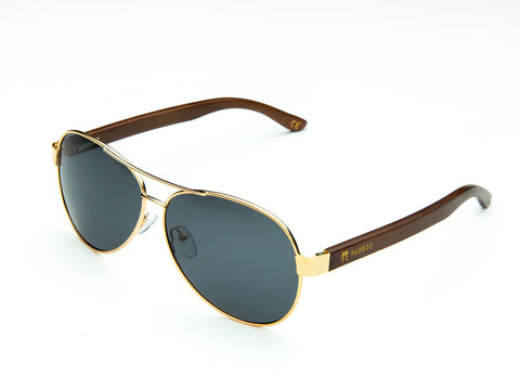 Bamboo Clothing & Accessories by Mabboo, Aviator - Gold Smoke Lens, Sunglasses