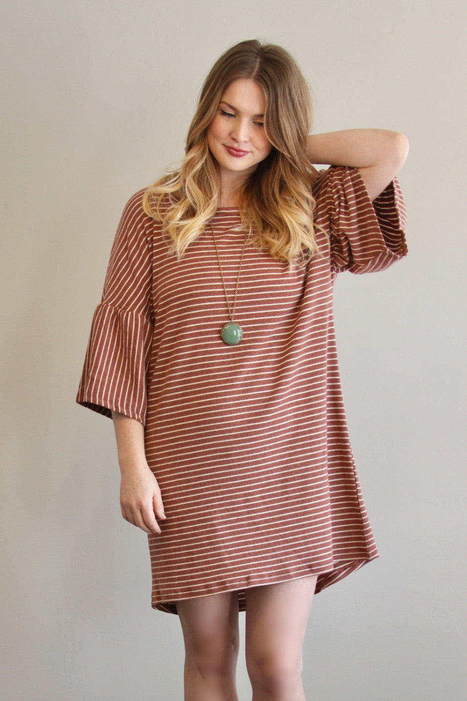 Oversized Stripe Dress in Rust - Final Sale