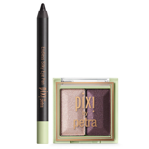Mini Endless Silky Eye Pen in Black Noir & Mesmerizing Mineral Duo in Orchid Ornament