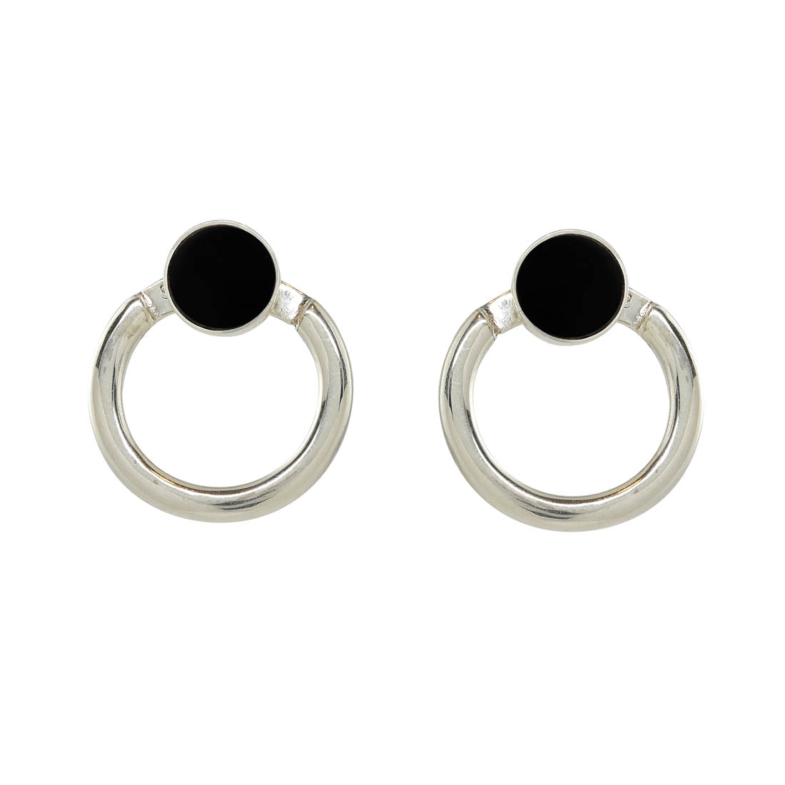 Silver Eclipse Earrings (Ink) - René Habie