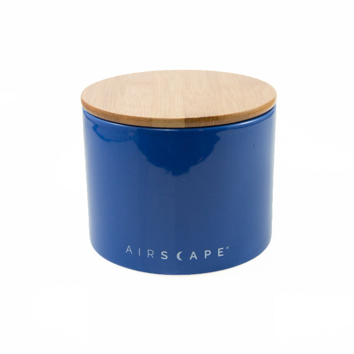 "Ceramic Coffee Canister with Airscape® Technology - 4"" Small Planetary Design Coffee Storage Cobalt (Dark Blue)"