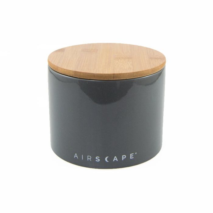 "Ceramic Coffee Canister with Airscape® Technology - 4"" Small Planetary Design Coffee Storage Slake (Dark Grey)"