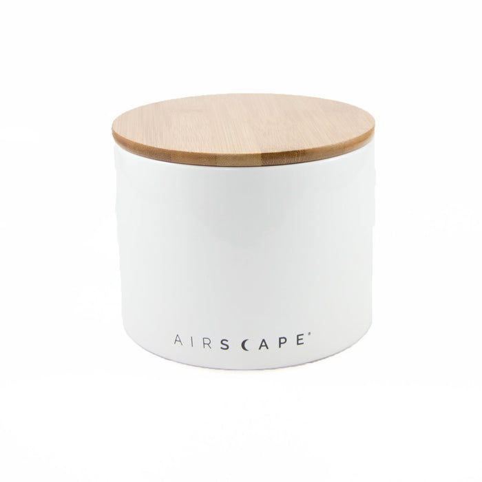 "Ceramic Coffee Canister with Airscape® Technology - 4"" Small Planetary Design Coffee Storage Snowflake (White)"
