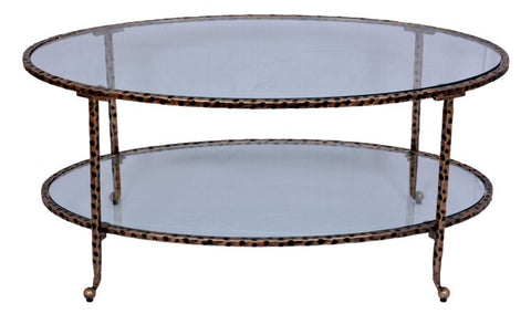 OVAL COFFEE TABLE - Antique Gold