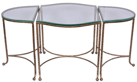 THREE PART COFFEE TABLE - Antique Gold