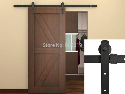 7.5Ft Black Steel Rustic American Style Sliding Barn Door Hardware16 Apart Holes Drilled On Track