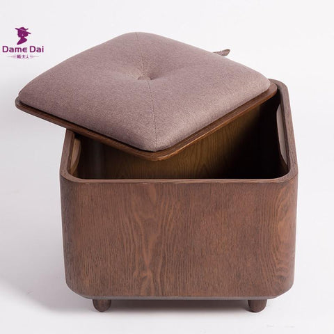 Wooden Organizer Storage Stool Ottoman Bench Footrest Box Coffee Table Cube Ottoman Furniture Fabric Cushion Top Ottoman Seat
