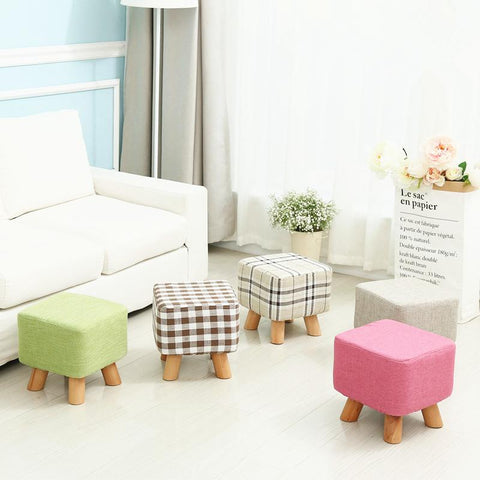 Fashion Creative Modern Shoes Stool Stable 4 Legs Solid Wood Sitting Stool Soft Linen Fabric Sofa Stool