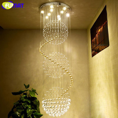 K9 Crystal Chandelier Ceiling Modern Artistic Spiral Crystal Lamp Hotel Lustre Stair Led Large Hanging Lamp Light Fixtures