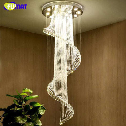 K9 Crystal Chandelier European K9 Crystal Spiral Lights Living Room Modern Creative Led Lustre Hotel Villa Chandelier Lamp
