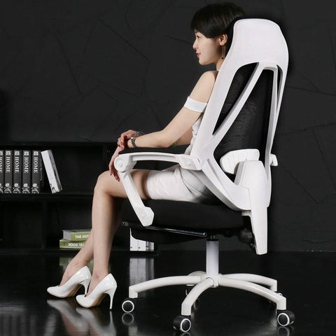 Mesh Lift Home Computer Gaming Chair Ergonomic Chair W/ Footrest Reclining Swivel Boss Office Armchair 170 Degree Lying Seat