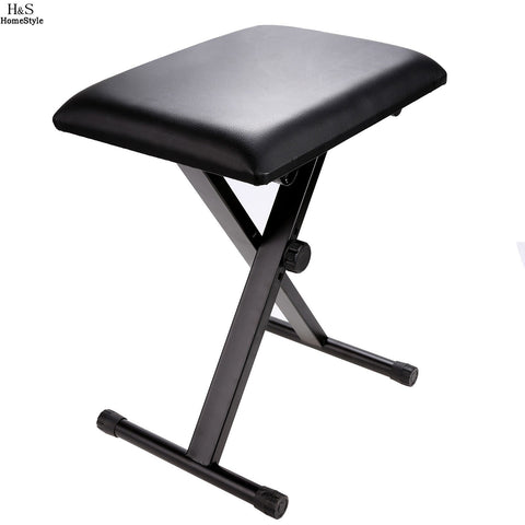 Homdox Folding Chair Adjustable Piano Keyboard Bench Leather Padded Seat Rubber Feet Folding Stool Chair N30*