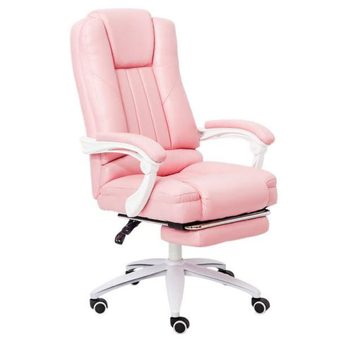 Executive Pu Leather Computer Chair W/ Pullout Footrest Adjustable Lumbar Padded Armrest Home Office Chair Furniture
