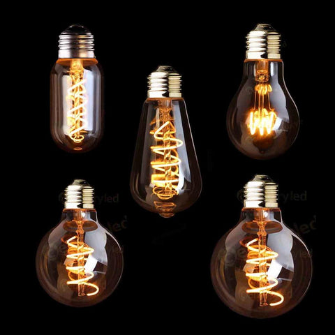T45 A19 St64 G80 G95 G125Spiral Light Led Filament Bulb3W 2200KRetro Vintage LampsDecorative LightingDimmable
