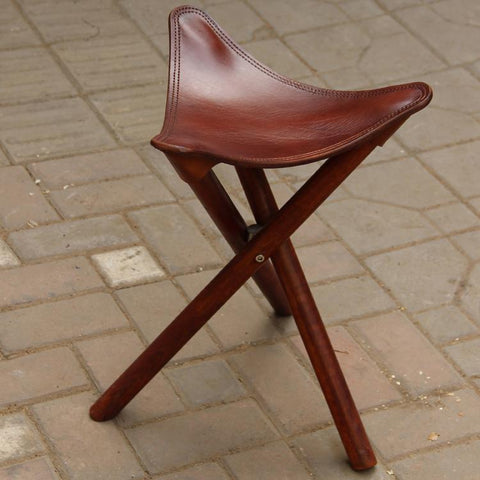 Portable Three Leg Wood Artist Folding Stool W/Saddle Leather Seat Living Room Furniture Wooden Tripod Stool For Outdoor/Indoor