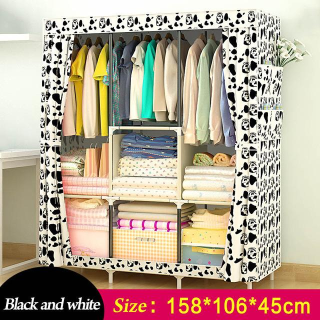 Simple Wardrobe Nonwoven Steel pipe frame reinforcement Standing Storage Organizer Detachable Clothing Closet Bedroom furniture