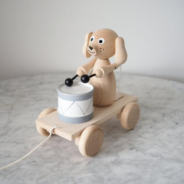 Sarah and Bendrix Arthur - Pull Along Wooden Dog With Drum
