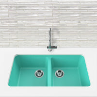 teal blue double basin kitchen sink