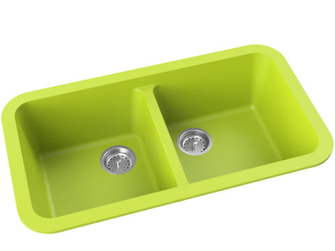 green double basin drop-in kitchen sink