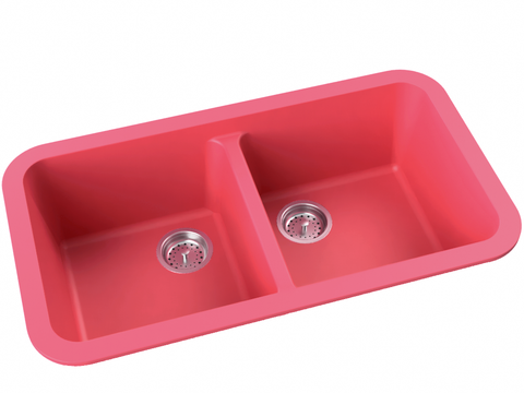 berry pink double basin drop-in kitchen sink