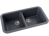 grey double basin drop-in kitchen sink