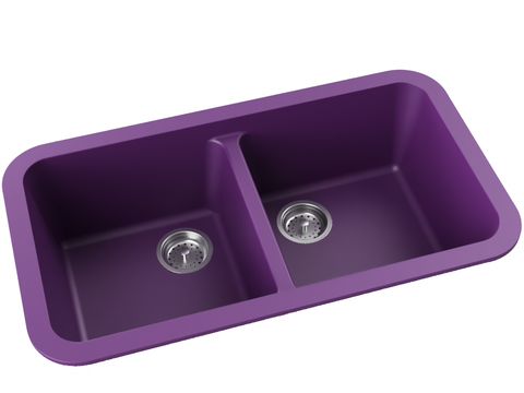 purple double basin drop-in kitchen sink