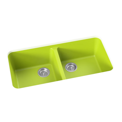 apple green undermount double basin kitchen sink