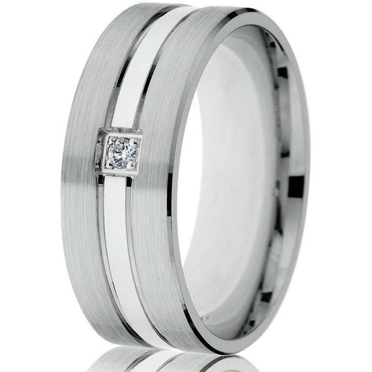 Three-strip sectional wedding band with diamond in white gold