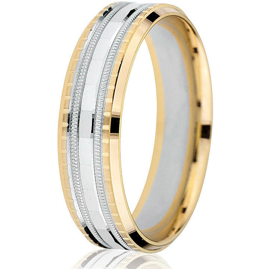 A bright cut edge followed by sectional engraving with a white gold milgrain detail and beveled white gold inlay create a stunning  6mm two-tone wedding band in 14k.