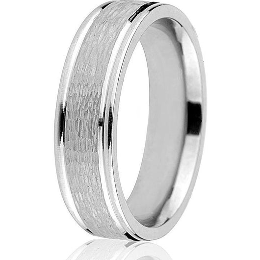 A modern update of a classic 6mm engraved wedding band with bright cut edge and textured brushed centre in white gold.
