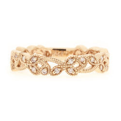 14k Rose Gold Floral Leaf Design Diamond Band