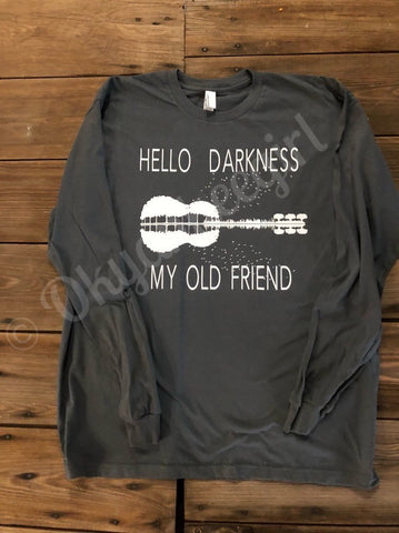Hello darkness my old friend top - guitar lake reflection tshirt - Ok Yankee Girl
