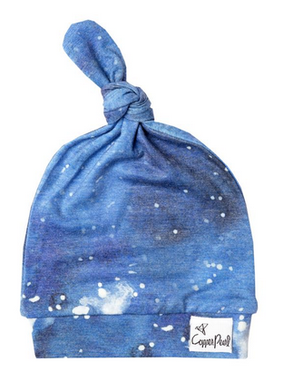 Copper Pearl Top Knot Hat in Galaxy