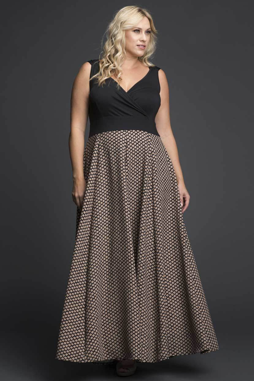 Lycra Maxi Dress with Printed Skirt