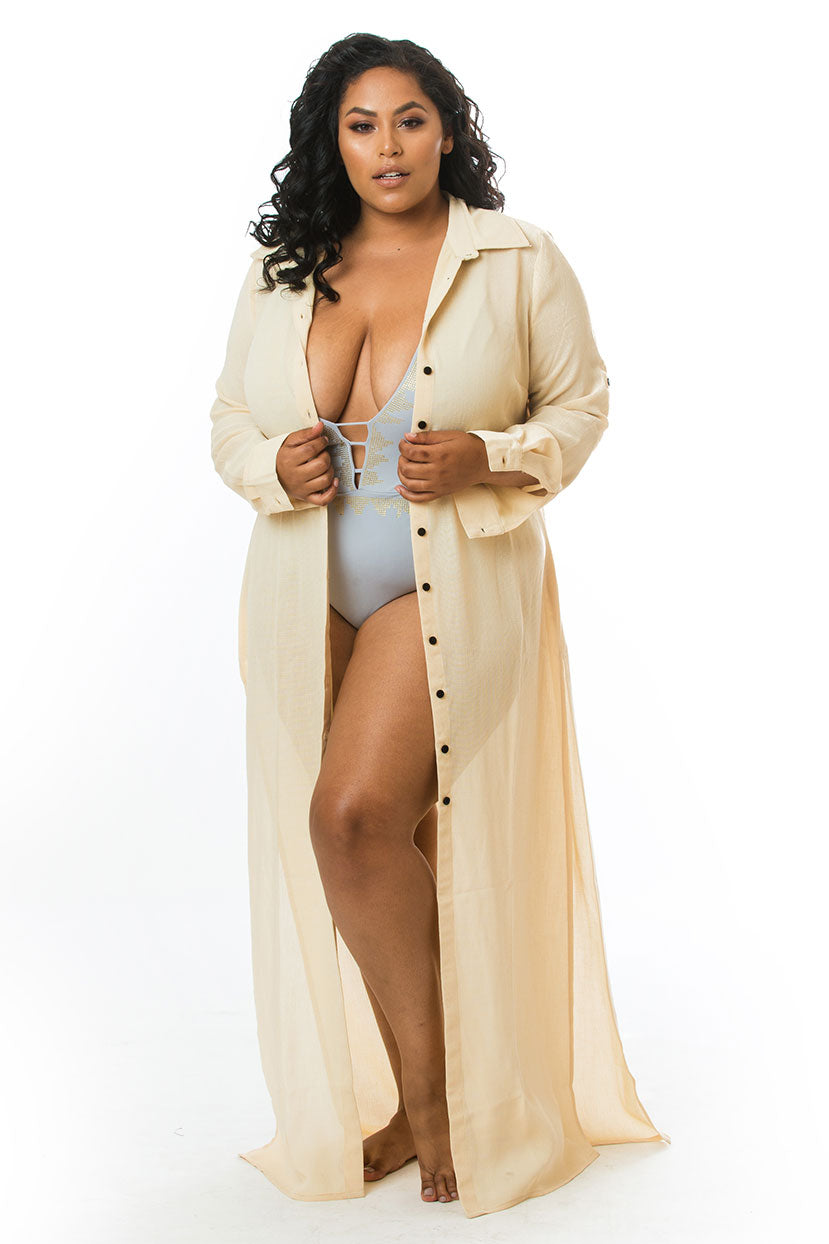 Light Breezy Cream Button Cover Up