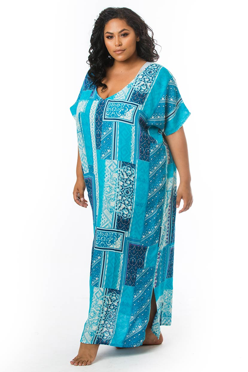 Printed Long Turquoise Cover Up