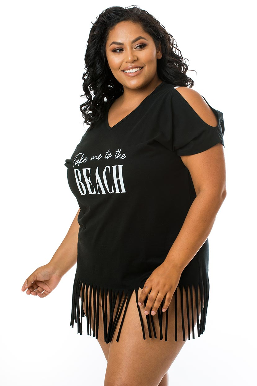 Take Me to the Beach Fringe Cover Up-Black