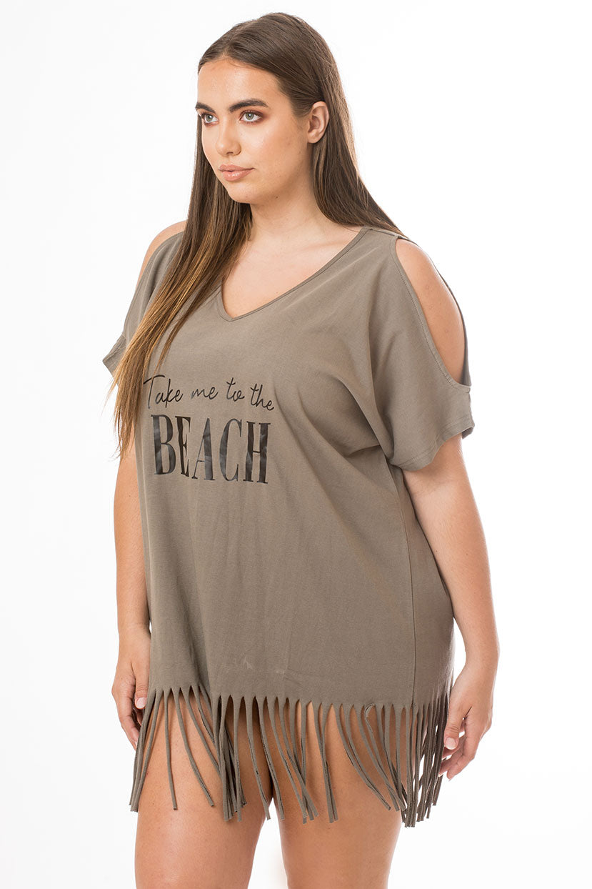 Take Me to the Beach Fringe Cover Up- Taupe Grey