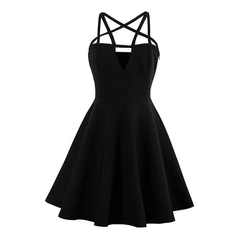 Black Pentagram Gothic Dress