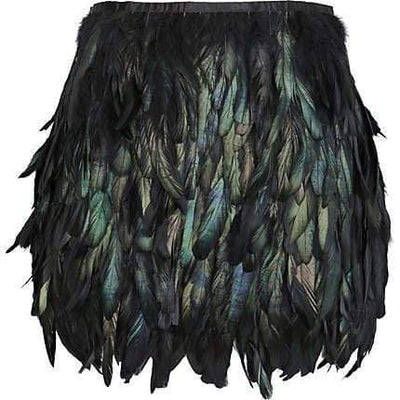 Handmade Black Feather Skirt
